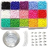 Ewparts 3mm Mini Glasperlen für Kinder DIY Armband Art & Jewellery-Making, Perlen Zum Auffädeln Perlenschnur Making Set, Fadeless Farbe (Full color)