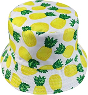 Amosfun Unisex Bucket Hat Summer Fisherman Cap Cute Print Tropical Print Bucket Hat Fruit Pattern Fisherman Hats Summer Re...