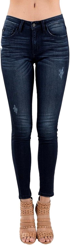 Kancan Women's Mid Rise Skinny Jeans Dark Wash KC8261D