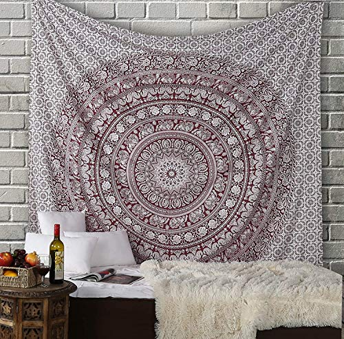 Grande Mandala Indiano da Appendere Alla Parete per Camera da Letto Beach Plaid Stampato Boho Arazzo Colore Marrone Bruciato 229x214 Cm Queen Cotton Elephant Tapestry