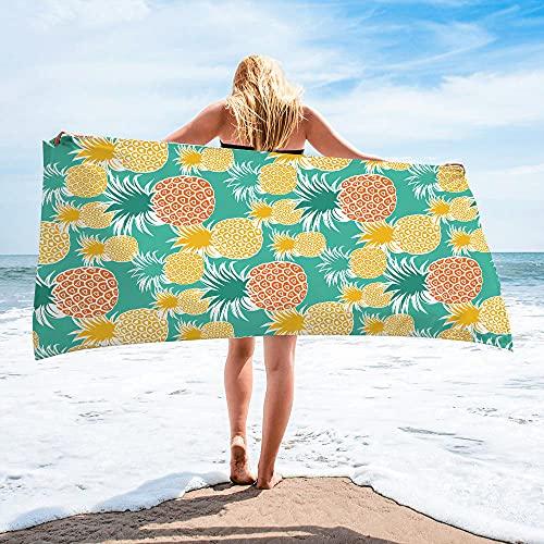 Surwin Toalla de Playa Grande, Microfibra Fruta Piña Impresión Secado Rápido Toalla de Piscina Toalla de Arena Antiadherente para Verano Playa, Yoga, Picnic, Hotel (Piña,80x160cm)