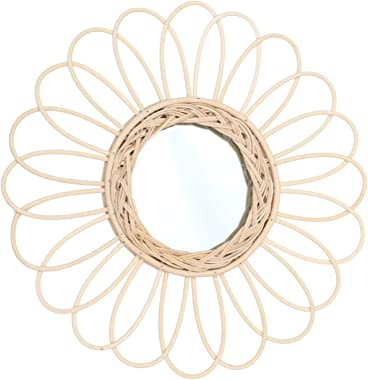 CLISPEED Rattan Hanging Wall Mirror with Macrame Fringe Round Boho Mirror Art Decor for Home Baby Nursery Dorm Entryways 38cm