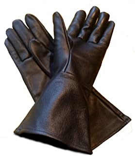 Leather Gauntlet Gloves Black Small (sm) Long Arm Cuff