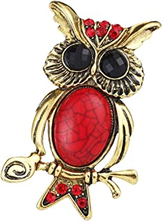 MagiDeal Red Rhinestone Turquoise Owl Branch Brooch Pin Breastpin Badge Jewelry
