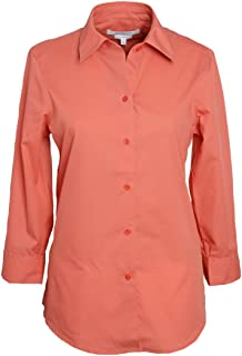 Foxcroft Woman's 3/4 Sleeve Solid Blouse Wrinkle Free (Sunset Coral, 10)