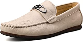 HaiNing Zheng Penny Loafers for Men Casual Shoes Slip On Genuine Leather Wear-Resistant Driving Sewing Thread Rubber Soles Round Toe (Color : Sand Colour, Size : 7 UK)