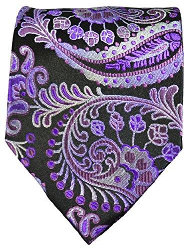Cravate homme noir violet paisley ensemble de cravate 3 Pièces ( longueur 165cm )