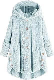 Women's Button Coat, Hypothesis_X Casual Lapel Faux Shearling Zipper Warm Winter Oversized Outwear Jackets