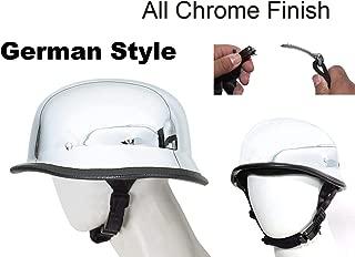 DMD Trading Motorcycle Skull Cap German Novelty All Chrome Skull Cap Helmet W/Adjustable Chin Strap (Small 21