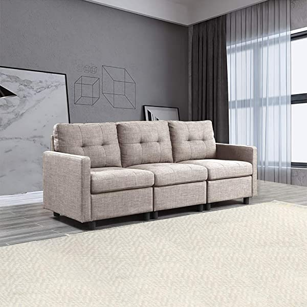 3 Pieces Modular Sectional Sofas Modern Linen Fabric Couch Set For Small Space Living Room