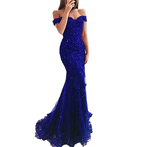 b3b735f8cc9 YSMei Women's Off Shoulder Long Lace Prom Dress Mermaid Beaded Evening Gown  418
