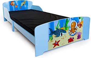 Homestyle4u 1215, Kinderbett, Motiv Fische Meer, Holz Blau Bunt, 90x200 cm