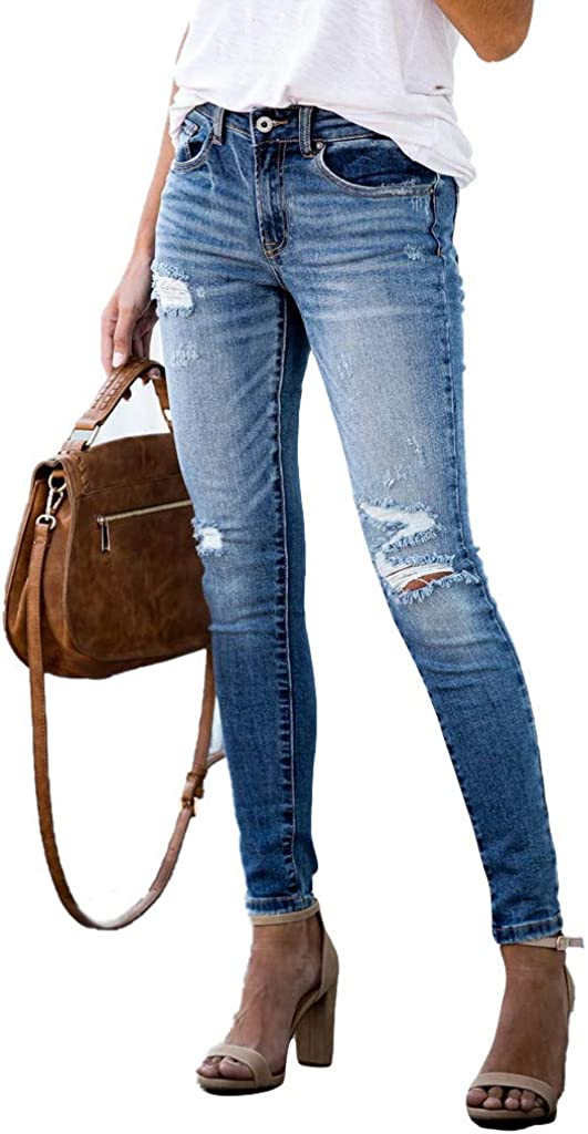 Women Casual Mid Waisted Skinny Hole Denim Button Stretch Skinny Slim Pants Calf Length Jeans
