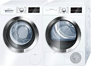 Bosch 800 Series White Front Load Compact Laundry Pair with WAT28402UC 24
