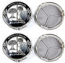 YIKA 4pcs for Mercedes 75mm Hub Cap Cover Car Logo Emblem Wheel Center for Benz A B C CLA CLS G M R S Center Cap Badge(Apple Tree AMG)