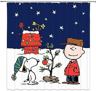 Snoopy Christmas Shower Curtain Kids Cartoon Waterproof Fabric Bathroom Curtain with 12 Hooks 60x72 Inch
