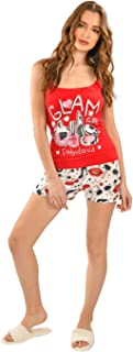 Habiba Cotton Letter-Print Sleeveless Top with Printed Shorts Pajama Set for Women - Red and White
