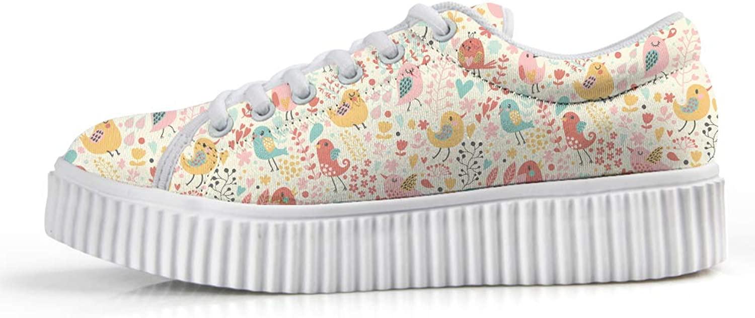 Owaheson Platform Lace up Sneaker Casual Chunky Walking shoes Low Top Women Floral Forest Singing Happy Birds