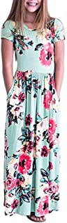 Áo quần dành cho bé gái – Girls Floral Flared Pocket Maxi Three-Quarter Sleeves Long Maxi Princess Party Dress