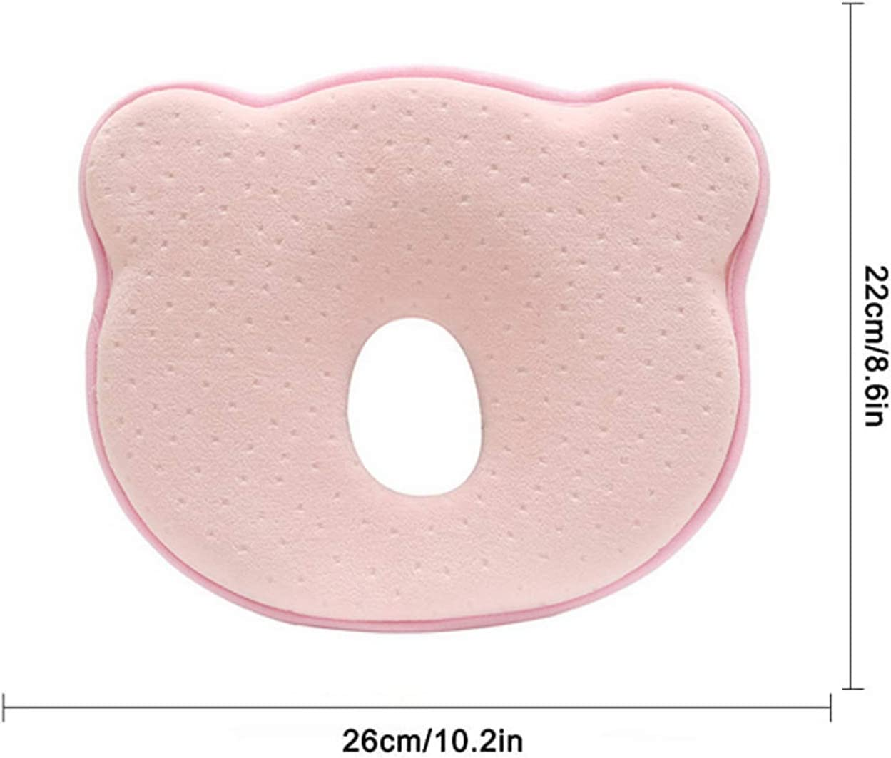 Baby Pillow Cute Bear Shape 3D Memory Foam Head and Neck Pillow Soft Against Flat Head Cushion Newborn Baby Head Shaping Pillow for The Prevention and Treatment