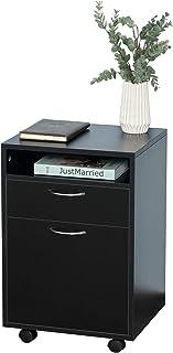 Caisson de bureau rangement bureau sur roulettes tiroir placard niche panneaux particules noir