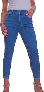icecoolfashion Jeans Donna in Denim Elasticizzato A Vita Alta con Risvolto Arrotolato 42-54