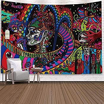 Trippy Tapestry Wall Hanging Psychedelic Tapestry Surreal Abstract Tapestries for College Dorm Bedroom Living Room Asthetic Decor 51.2 X 59.1 inches