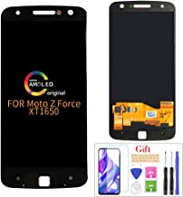 Compatible with Moto Z Force XT1650-02 LCD Display Screen Replacement,for Motorola Moto Z Force Droid XLTE XT1650-02 Display LCD Panel Repair Parts Kit,with Tempered Glass+Tools + Black with Frame