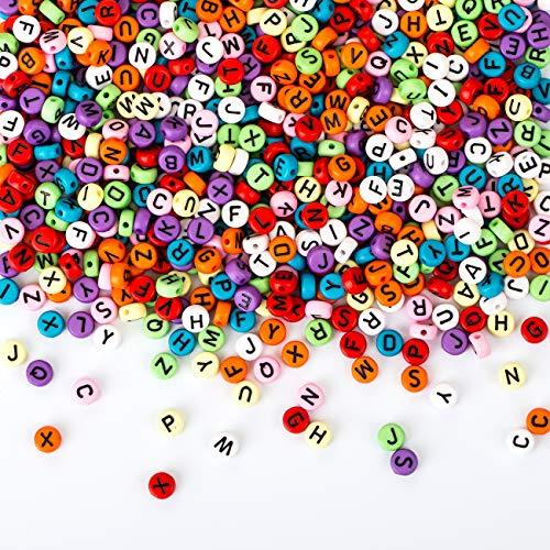 Naler 1200 Abalorios Letras Redondas de Colores Cuentas Alfabeto para Pulseras DIY Manualidades(7mm, 26 Letras)
