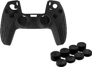 Homyl Capa protetora antiderrapante de silicone à prova de poeira para controle PS5 – Preta
