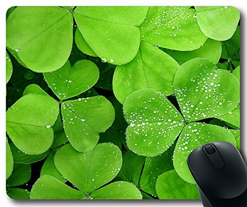 Green Irish shamrocks Mousepad,Custom Rectangular Mouse Pad