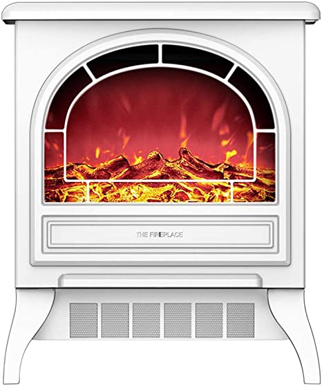Crzj Electric Stove Fireplace Heater Portable Free Standing Electric Fireplace Insert Stove Heater With Realistic Log Flame Effect White Home Kitchen