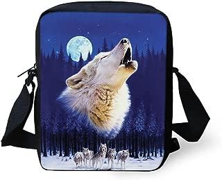 UNICEU Moon Wolf Cross-body Shoulder Bag for Girls Boys Teenagers Mini Purse Blue