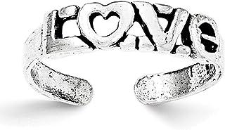 Lex & Lu Sterling Silver Antiqued Love Toe Ring