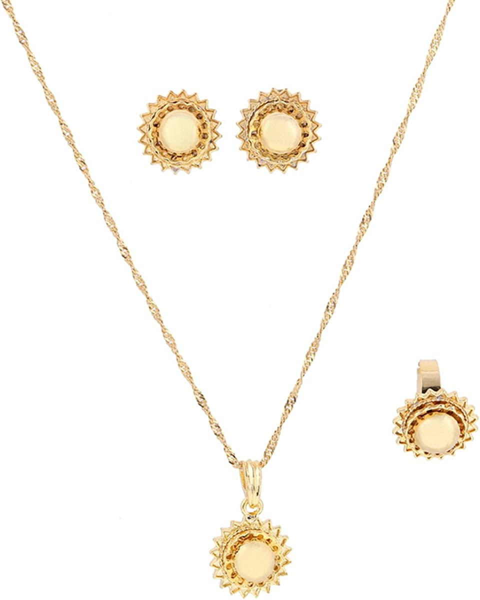 Ethiopian Jewelry Set 24k Gold Plated Pendant Earing Ring Set African Wedding Jewelry Sets