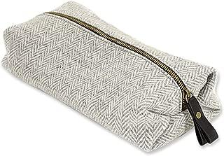 Tweed Plaid Herringbone Silver 11 x 7 New Welsh Wool Fabric Toiletry Wash Bag