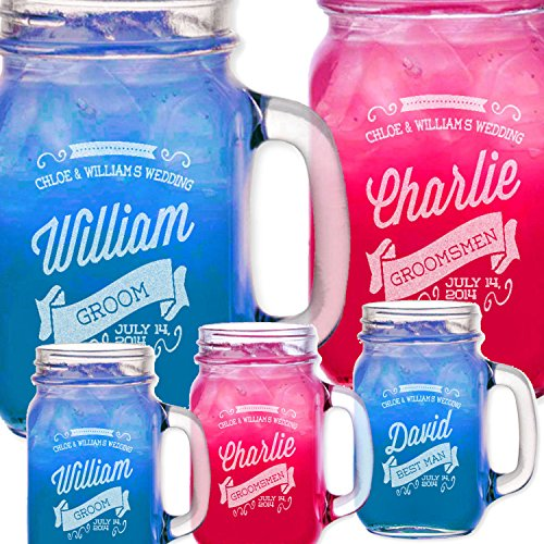 ONE Retro Personalized Mason Jars Drinking Mugs with Handle Engraved Custom Etched with Name and Date for Wedding, Engagement Anniversary Bridal Party Gift or a Favor Idea for Groomsmen Bridesmaids Gifts Etched Laser Gift Idea
