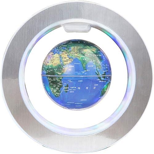 CWXDIAN O-f ige Magnetschwebekugel, die die kreative Geburtstagsgeschenk-Bürodekoration der Rotation beleuchtet, blau, 4 Zoll