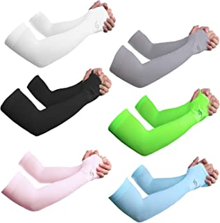 Sportout Unisex UV Protection Cooling Arm Sleeves, Ultra-long Tattoo Cover Sleeves,6 pairs