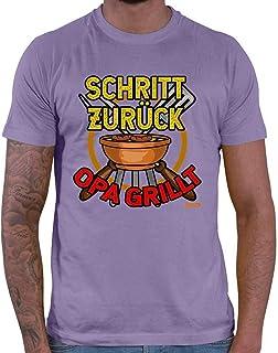 "HARIZ Camiseta de manga corta para hombre con texto en alemán ""Schritt Zurück Opa Grillt 2"", incluye tarjeta de regalo"