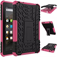 Palarn Case for Kindle Fire HD 7 2015 - Rubber Shockproof Hybrid Hard Case Cover Stand Holder for Amazon Kindle (Pink)