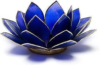 Find Something Different Lotus Candle Holder Capiz Shell Indigo Chakra 6