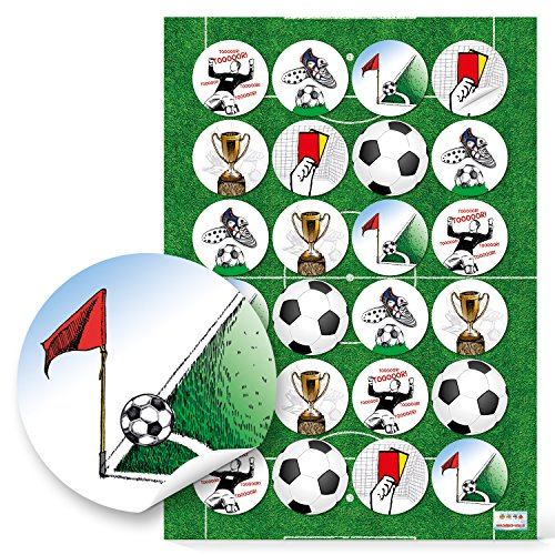 24 stuks voetbalstickers, rond, 4 cm, deur, gele kaart, bekerhoek, voetballer voetbalschoenen om te knutselen, als cadeausticker voor papieren zakken, etiketten voor decoratie wereldkampioenschap