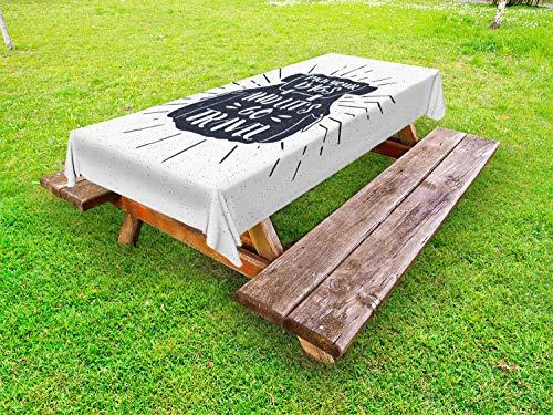 ABAKUHAUS Reizen Tafelkleed voor Buitengebruik, Pak je koffers en Lets Go, Decoratief Wasbaar Tafelkleed voor Picknicktafel, 58 x 120 cm, Charcoal Grey White