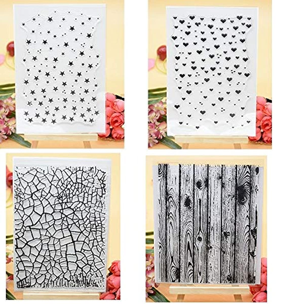 Welcome to Joyful Home 4pcs/Set Star Heart Background Rubber Clear Stamp for Card Making Decoration and Scrapbooking