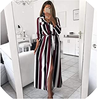 Lady Turn-Down Collar Button Lace Up Long Shirt Dress Women Long Sleeve Striped Dresses