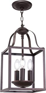 MELUCEE 3-Light Lantern Pendant Light Farmhouse Chandelier Bird Cage 8 Inches Oil Rubbed Bronze Light Fixtures Ceiling Hanging for Foyer Dining Room Entry Hallway, E12 Base