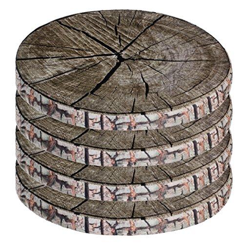 Brandsseller Cojín decorativo para silla en varios diseños (paquete de 4 unidades), diseño de tronco de árbol