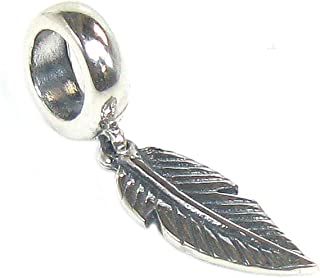 Sterling Silver Angel Feather Dangle Bead for European Charm Bracelets