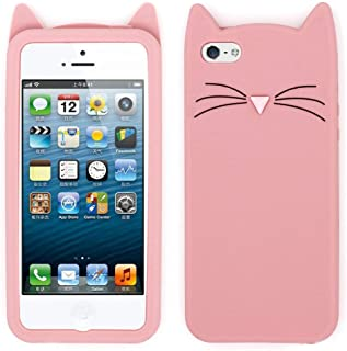 for iPhone 5C Cat Case, iPhone 5 Animal Case, iPhone 5S Kitty Case, iPhone SE 3D Case, Adorable 3D Cartoon Meow Cat Ears Soft Silicone Rubber Shockproof Phone Case Cover for iPhone 5 / 5S / 5C / SE
